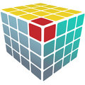Cube puzzle box 3d solution on white Royalty Free Stock Photos