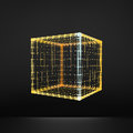 Cube. Regular Hexahedron. Platonic Solid. Regular, Convex Polyhedron. 3D Connection Structure. Lattice Geometric Element Royalty Free Stock Photo