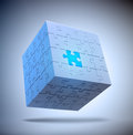 Cube shaped puzzle problem solving concept Royalty Free Stock Images