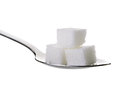 Cube sugars in teaspoon on white background isolated Stock Photos