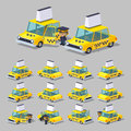 Cube world yellow taxi d lowpoly isometric the set of objects isolated against the gray background and shown from different sides Royalty Free Stock Photography