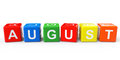 Cubes with August sign Royalty Free Stock Photo