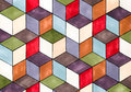 Cubes background colored hand drawn Stock Photos
