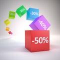 Cubes en couleur avec les pour cent de remise d Images libres de droits
