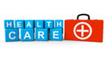Cubes health care sign first aid case white background Stock Photos
