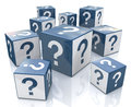 Cubes with question marks in the design of information related to internet Stock Images