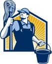 Cubeta de cleaner holding mop do guarda de serviço retro Imagens de Stock Royalty Free