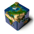 Cubic Earth with translucent ocean Stock Photography