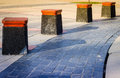 Cubic park benches on public area small designed per person for both resting and decorative purposes areas Stock Images