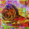Cubism rose artificial in art painting Stock Photos
