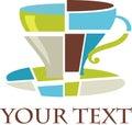 Kubistické káva pohár označenie organizácie alebo inštitúcie / ikona