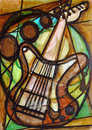 Cubist Guitar Painting Royalty Free Stock Photos