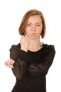 Cubital sign young woman showing negative on white background Royalty Free Stock Photo