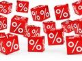 Cubos rojos del por ciento de la venta Foto de archivo