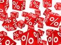 Cubos rojos del por ciento de la venta Imágenes de archivo libres de regalías