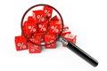 Cubos vermelhos dos por cento com lente de aumento Imagem de Stock