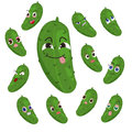 Cucumber cartoon with many expressions Royalty Free Stock Photography