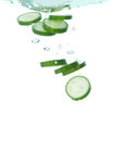 Cucumber in clear water Royalty Free Stock Photo