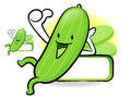 Cucumber mascot the left hand best gesture vegetable character design series Royalty Free Stock Image