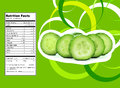 Cucumber nutrition facts creative design for with label Stock Images