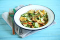 Cucumber and peach salad with elderflower flower chili citrus summer Stock Photography