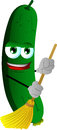 Cucumber or pickle sweeping with broom