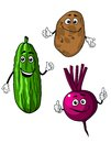Cucumber potato and beet vegetables in cartoon style with smiling faces Royalty Free Stock Photo