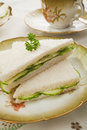 Cucumber Sandwiches on Old Fashioned Crockery Royalty Free Stock Image
