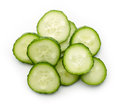 Cucumber slices isolated on white, from above Royalty Free Stock Photo