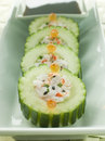 Cucumber Sushi Roll with Crayfish and a Soy Dip Royalty Free Stock Photos