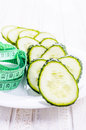 Cucumbers and centimeter for dieting Stock Image