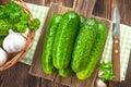 Cucumbers fresh on a board Stock Photo