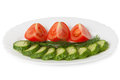 Cucumbers and tomatoes chopped slices on plate isolated white background side view Stock Images