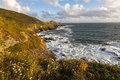Cudden point cornwall landscape view of in late afternoon sunlight Stock Image