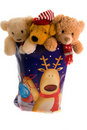 Cuddly toys in a christmas sack Royalty Free Stock Photos