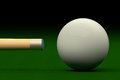 Cue Aiming Cue Ball or White Ball, 3D Rendering Royalty Free Stock Photo