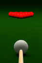 Cue Aiming White Ball or Cue Ball on Snooker Table, 3D Rendering Royalty Free Stock Photo