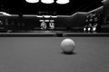 Cue ball black and white image of a on a billiard table Stock Photos