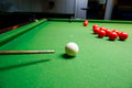 The cue of ball for a shot snooker player placing Royalty Free Stock Photo