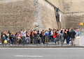 Cue of tourists to Vatican Museum Royalty Free Stock Photo