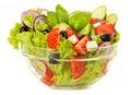Cuenco de ensalada vegetal aislado en blanco Imagenes de archivo