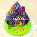 Culinary art the colorful chocolate marzipan house Stock Photo