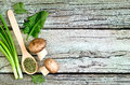 Culinary background green with mushroom and fresh herbs Stock Photography