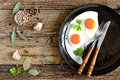 Culinary background with herbs and fried eggs Stock Photography