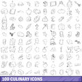 100 culinary icons set, outline style