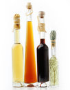 Culinary oil bottles on white background Stock Photos