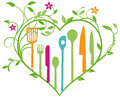 Culinary utensils brightly colored kitchen or in a cheerful heart shaped flower illustration Stock Photography