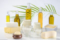 Culinary variety of fats on white bacground Royalty Free Stock Photos