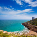 Cullera cala beach near faro in blue mediterranean of spain Royalty Free Stock Image