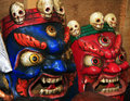 Cult worship masks from the Himalayas Stock Photo